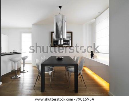 modern dining room with wood floor
