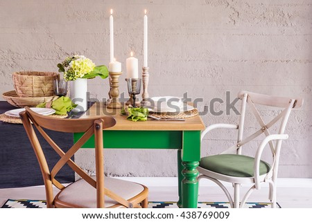 modern dining table and...