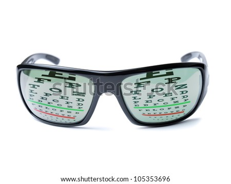 Modern dioptric sunglasses with Snellen eye chart as reflection on it.