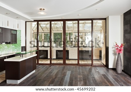Modern Drawing Room (Studio) And Kitchen Interior With Balcony And