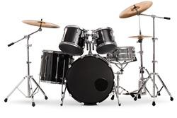 Modern drum kit isolated on white background