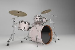 Modern drumset. Drums and cymbals construction on white studio background. Collection of percussion musical instruments. Drumming solo, rock music concert design element