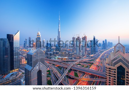 Modern Dubai city center skyline at the sunset, Dubai, United Arab Emirates