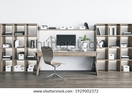 Modern eco style home workplace with wooden racks, table with computer, chair and parquet board on the floor. 3D rendering