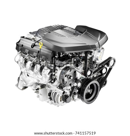 Modern Eight-Cylinder V8 Car Engine Isolated on White Background. Internal Combustion