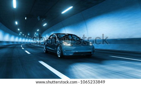 Modern Electric car rides trough tunnel with cold blue light style 3d rendering