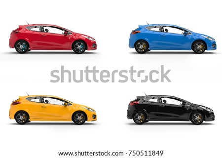 Modern electric cars in red, blue, yellow and black - 3D Illustration