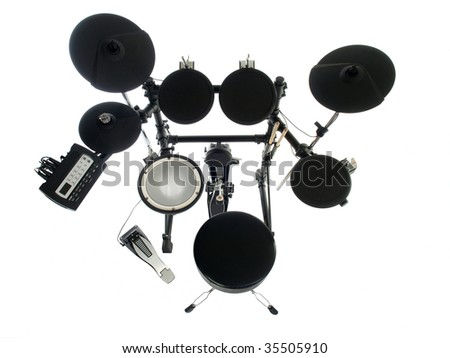 Modern electric drum set isolated on white,