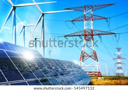 modern electric grid lines and...