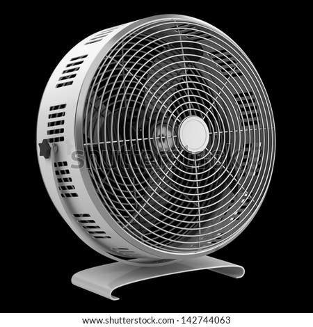 modern electric metallic fan isolated on black background