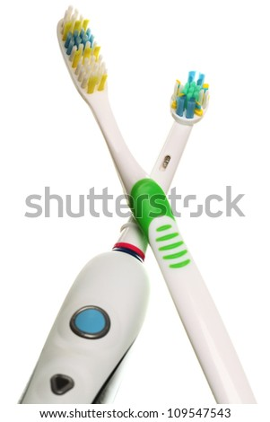 modern electrical toothbrush isolated on white background Heads electric