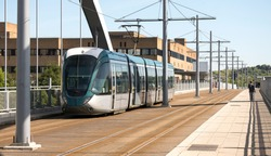Modern electrified tram design image
