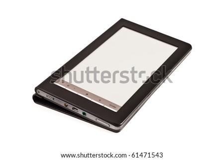 modern electronic pocket book, isolated on white - stock photo