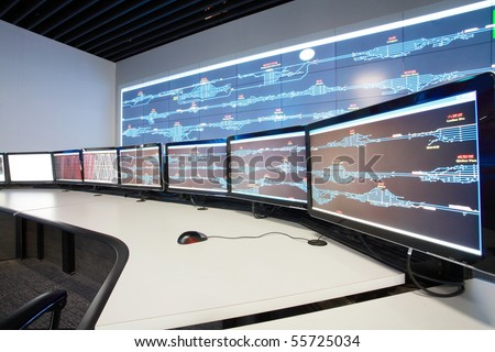 Modern electronic technology inside the control room