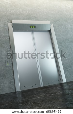 modern elevator with closed doors