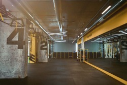 Modern empty crossfit gym or fitness studio