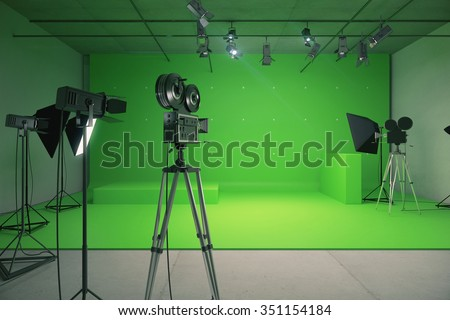 Modern empty green photo studio with  old style movie camera 3D Render