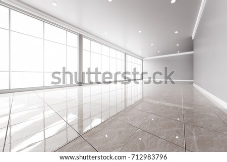 Modern empty office interior with big windows. 3D rendering