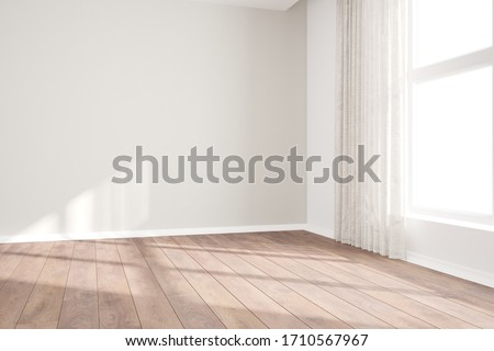 modern empty room with curtains interior design. 3D illustration