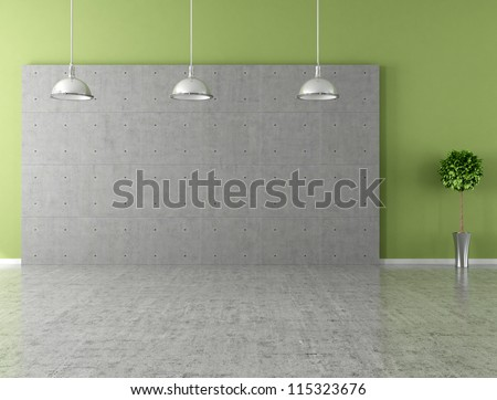 Modern empty room with panel and concrete floor