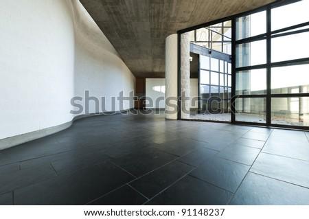 modern empty villa, large window