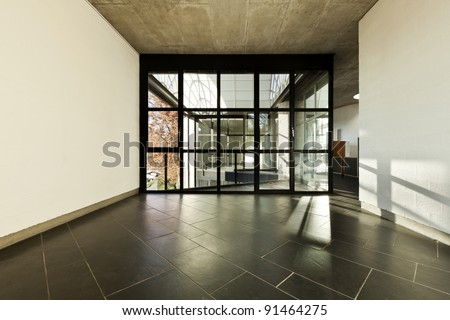 modern empty villa, large window