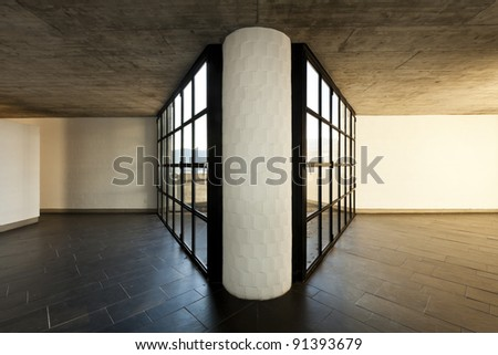 modern empty villa, large window in perspective with center column