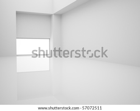 Modern empty white interior with window on floor