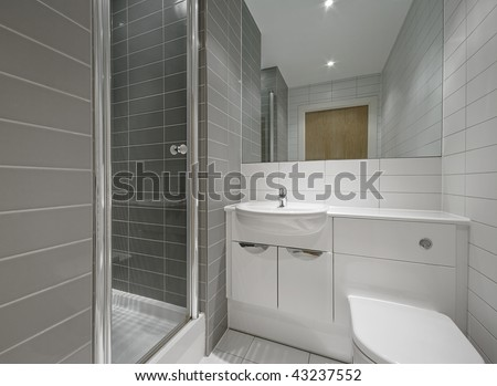 Bathroom Tile Floor on Modern En Suite Bathroom With Shower Cabin And Floor To Ceiling Tiles