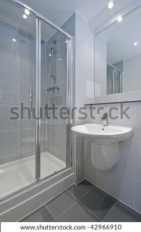 Ensuite Bathroom On Modern En Suite Bathroom With Shower Corner Stock