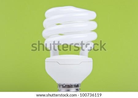 modern energy saving bulb on green background