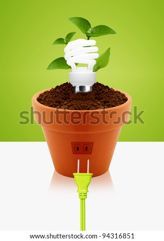 modern energy-saving concept,  bright bulb in garden pot with small plant.