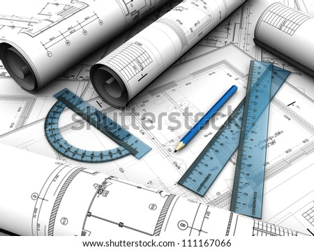 Modern  engineering plan with pencil and rules on it