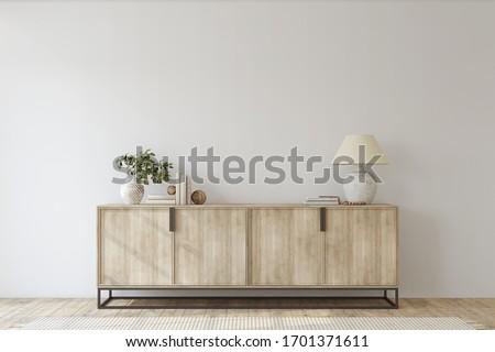 Modern entryway. Sideboard near empty white wall. Interior mockup. 3d render. Foto stock ©