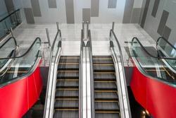 Modern escalator facilities in a contemporary building.