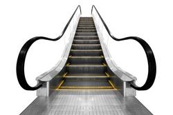 Modern escalator isolated on white background with clipping path