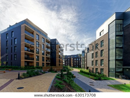 Modern european complex of apartment buildings. And outdoor facilities.