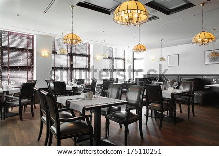 modern european restaurant with nice and bright interior #175110251