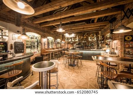 Modern european restaurant with wooden interior