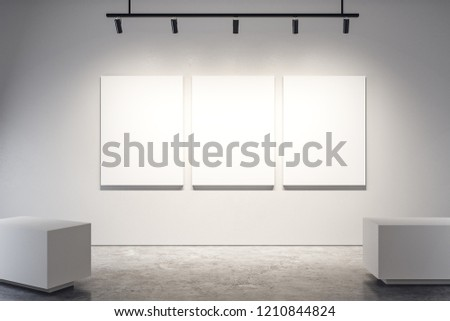 Modern exhibition hall interior with copy space, empty billboard on wall. Gallery concept. Mock up, 3D Rendering  Сток-фото ©