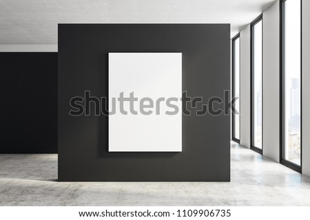 Modern exhibition hall interior with empty billboard, city view and daylight. Mock up, 3D Rendering