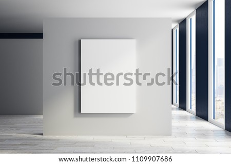 Modern exhibition hall interior with empty poster, city view and daylight. Mock up, 3D Rendering  Stock photo ©