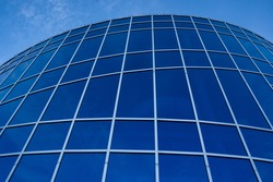 Modern exterior window glass structure at the Genesis Place in Airdrie Alberta Canada.
