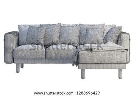 Modern fabric sofa with chaise lounge. Corner sofa with pillows on white background. Scandinavian interior. 3d mesh #1288696429