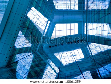 modern facade of glass walls