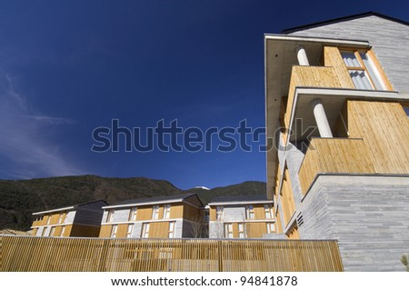 modern facade with blue and clear sky