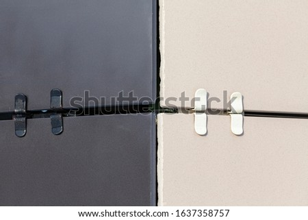 Modern facades of composite panels, view from outside. Corner element of the facade.