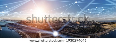 Modern factory and communication network concept. Telecommunication. IoT (Internet of Things). ICT (Information communication Technology). 5G. Smart factory. Digital transformation.