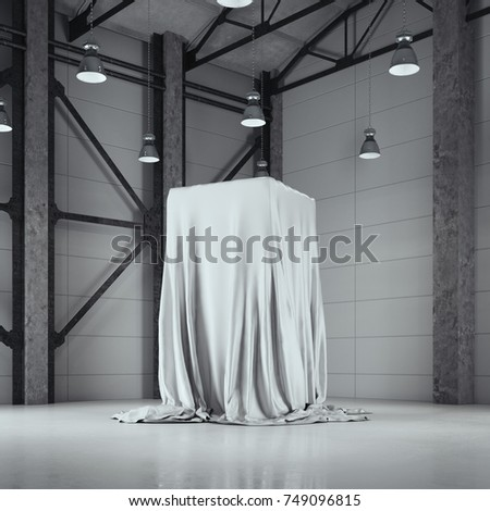 Modern factory loft hangar with photo studio and covered with cloth showcase. 3d rendering