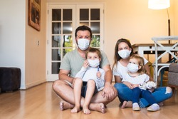 Modern family at preventive quarantine due to global pandemia